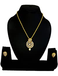 KAAYRA Designer Gold Plated Pearl Necklace Set / Pendant Set With Earring For Girls And Women