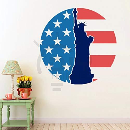 Wandtattoo Amerikanische Flagge Freiheitsstatue Graffiti Cartoon Illustration Wasserdicht Pvc Wohnzimmer Schlafzimmer Dekorative Aufkleber, Längste Kante 40 Cm, In