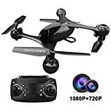 KUORLE Drone, WiFi FPV Drone with 2 Cameras -1080P HD Camera/Video and 720P