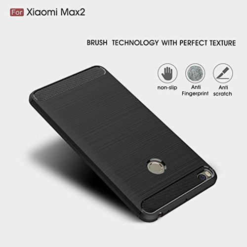 YHUISEN Xiaomi Mi Max2 Fall, Ultra Light Carbon Fiber Rüstung ShockProof gebürstet Silikon Griff Case für Xiaomi Mi Max 2 / Mi Max2 ( Color : Black ) Navy