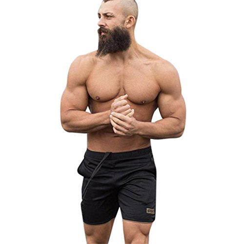 OSYARD Männer Sport Training Bodybuilding Sommer Brief Shorts Workout Fitness Gym Kurze Hosen(2XL, Gold)