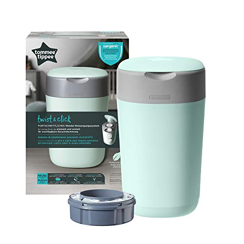Tommee Tippee Twist and Click Advanced Nappy Disposal Sangenic Tec Bin, Green