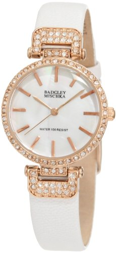 badgley-mischka-womens-ba-1188rgwt-swarovski-crystals-accented-white-leather-strap-watch