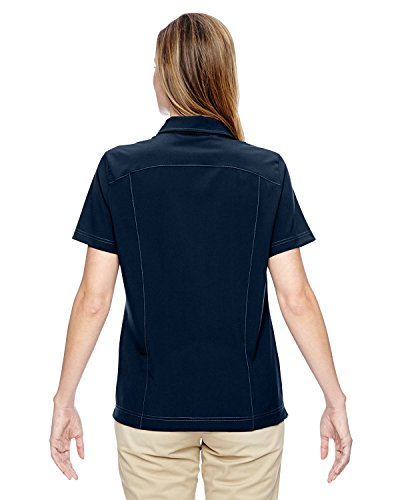 North End 75120 Damen-Ausflug Crosscheck Woven Polo NAVY 007