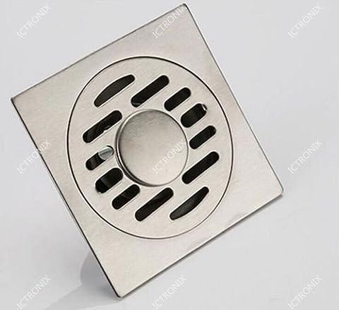ICT Ronix 100x 100mm Flux de siphon de sol de douche en acier inoxydable Bain Bonde sol Bonde de douche rigole d'écoulement au sol raccord de tuyau