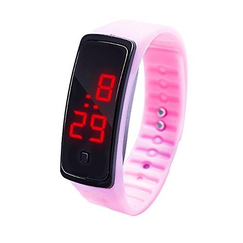 Reloj de Pulsera con Pantalla Digital LED,BBestseller Relojes Deportivo Infantil Podómetro Cronómetro electrónico Inteligente Pulsera (Rosado)