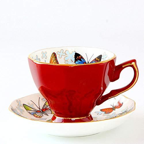 Niiouyt Tassen Kaffeetasse im europäischen Stil Set für Nachmittagstee und Untertasse Set für schwarzen Tee Bone China Butterfly Butterfly Tee-set