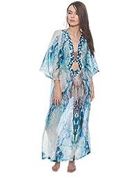 869d66385d72b1 La Perla Donna Caftano con Decorazioni Bianco e Blu in Raso Tg. 42