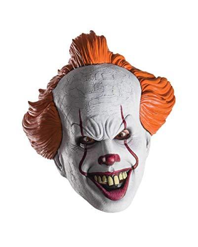 rte Pennywise Halbmaske aus Dem Remake von Es als Halloween Verkleidung ()