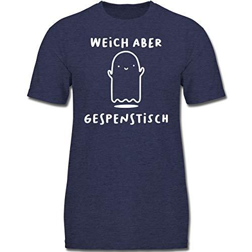 Anlässe Kinder - Weich Aber gespenstisch Halloween - 128 (7-8 Jahre) - Dunkelblau Meliert - F130K - Jungen Kinder T-Shirt