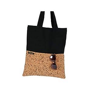 Shopper/Tote Bag/Einkaufstasche/Umhängetasche/Jeansstoff schwarz/Kork/zwei Außentaschen