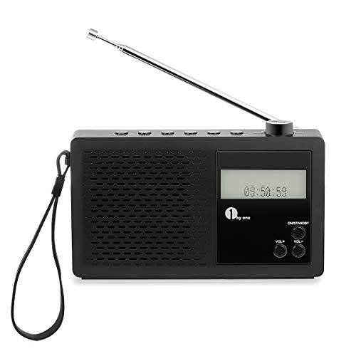 1 BY ONE Radio Digitale Portatile DAB/FM Radio con FM, Sveglia, Display LCD, Jack per Cuffie, Nera