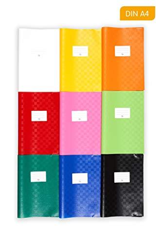 perfect line 25 Bast-Heft-Hüllen DIN-A4 bunt, Heft-Umschlag flexibel & abwischbar, 9 unterschiedliche Farben, buntes Set Buch-Schoner mit Einband, bunte Schutz-Hülle für Arbeit- & Schulhefte
