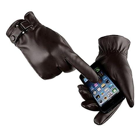 Saingace gloves Herren Thermische Wintersport Lederhandschuhe (Schwarz)