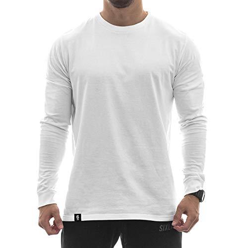 Sixlab Side Split Longsleeve Oversize Shirt Sweatshirt Shirt Fitness Gym (XXL, Weiß) -