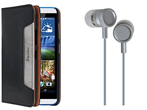 Jkobi Combo Of Branded PU Leather Flip Wallet Case Cover & Metal Body Stereo Earphones Handsfree For HTC One E9s -Ethnic Black & Silver