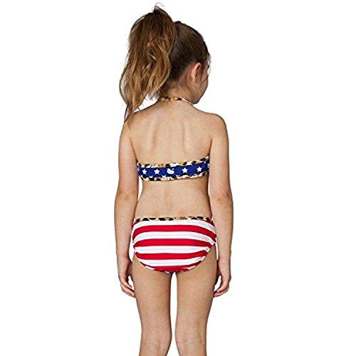 Hello Kitty Girls' Stars & Stripes Halter Bikini Two Piece Set (6X, Navy) (Sexy Halter Stripe)