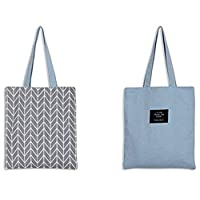 LAAT Foldable Shopping Bag Reusable Grocery Bag Fashionable Shoulder Bag Cotton Bag Eco-friendly Cotton Tote Bag- 5 Colours, 37x33cm (Grey)