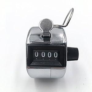glchq Metall Edelstahl Hand Tally Zähler 4-stellige Mechanische Palm Clicker Zähler, Hand Held Golf Nummer Tally…