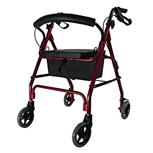 D PRO T Red Lightweight Rollator With Seat 4 Wheel Walker Mobility Walking Frame Zimmer Disability Aid