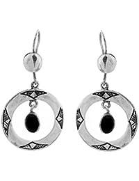 89d75c1ac631 bijoucolor – Bijoux Touareg étnico Pendientes en plata redonda y perla de  ágata negra