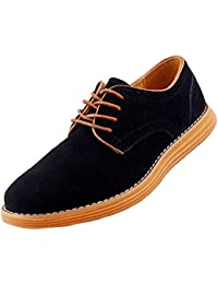 Gleader NUEVOS zapatos de gamuza de cuero de estilo europeo oxfords de los hombres casuales 999 Gris(tamano 43)