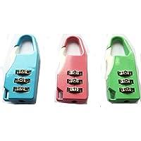 Set di 3 mini combinazione di blocco di sicurezza per le valigie e borse.