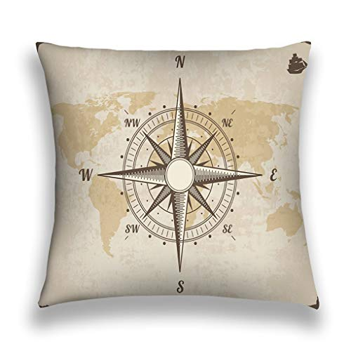 Kissenbezüge Throw Pillow Cover Pillowcase vintage nautical compass old world map paper texture torn border frame wind rose background ship logo Dreamy Sofa Home Decorative Cushion Case 18