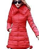 Inverno Lungo Giacca Spessore Sottile Cappotto Imbottito Con Pelliccia Ecologica Cappuccio per Donna Rosso S