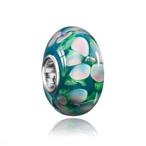 MATERIA 'Gardenie' Muranoglas Beads Perle Blume weiß grün für European Beads Armband #1126