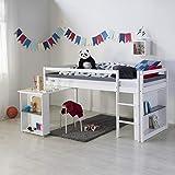 Homestyle4u 1880, Kinder Hochbett mit Schreibtisch, Kinderbett 90x200 Weiß, Holz Kiefer