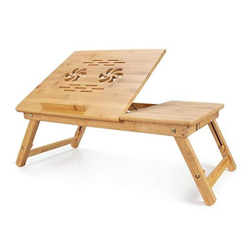 Todeco - Table Portable pour Ordinateur, Plateau de Lit Pliable - Matériau: Bambou - Dimensions de la surface de la table: 55,1 x 35,1 cm - Bureau réglable avec trous d'aération
