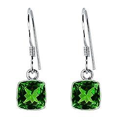 Idea Regalo - Orecchini in argento Sterling, con smeraldo, senza nichel, orecchini da sposa, set di orecchini in argento Sterling, con smeraldo verde (1,68 ct)