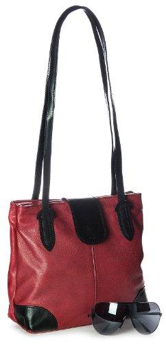 Big Handbag Shop mittelgroße Handtasche echtes Leder Hobo mehrere Taschen rot-schwarz Trim