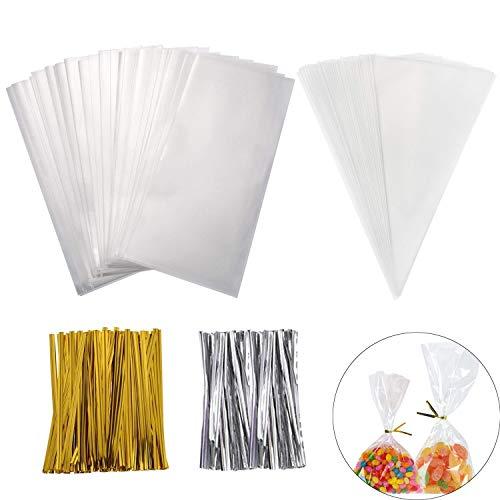 Shi wu 400 pezzi trasparente trattare borse con cravatte a torsione, rettangolo triangolo trasparente trattare borse regalo fai da te per i biscotti di nozze favore favore san valentino