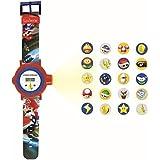 LEXIBOOK- Nintendo Reloj Correa Ajustable Pantalla Digital con 20 proyecciones de Mario Kart-para Niños-Rojo y Azul