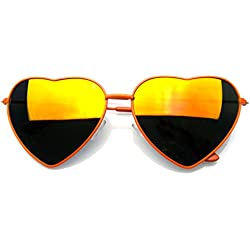Premium Womens Niedlich Metallrahmen Herz Form Sonnenbrillen (Flash-Spiegel | Orange)