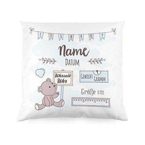 Striefchen Kissen als Geschenk zur Taufe Oder Geburt mit Namen & Datum - Teddybär - Babygeschenk Oder Geburtskissen Weiß