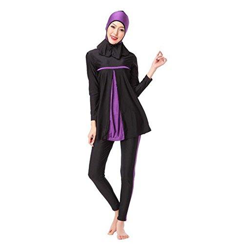 Meijunter musulmano Donne Manica lunga Modesto 3-pezzi Estate Costume da bagno islamico arabo Full Cover Protezione solare Burkini Beachwear Malaysia Allegato Hijab Swimwear Bathing Suit Viola