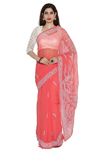 Ada Women's Lucknow Chikankari Handicraft Faux Georgette Saree With Blouse Piece (A191620_Carrot...