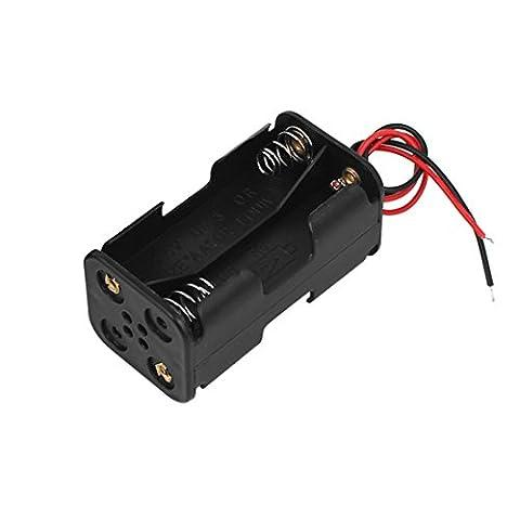 sourcingmap® Deux piles AA couche 4x1.5V ouvert boîte fort batterie porte-câble Longueur 15cm