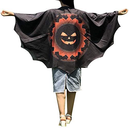 Cardith Damen Neuheit Mantel Kürbis Druck Kap Schal Dame Halloween Shawl Wrap - Pizza Boy Kostüm