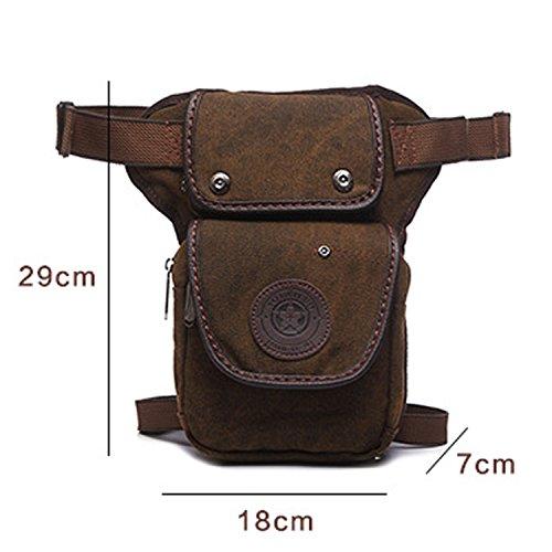 Outreo Sacca da Gamba Marsupi Moda Borsa da Uomo Leg Bag Borse da Viaggio Outdoor Borsello Sport Sacchetto Vintage Marsupio per Trekking Escursioni Tasca Marrone