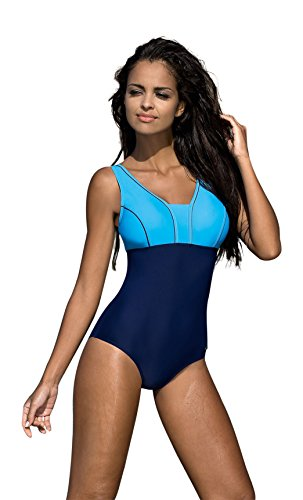 Badeanzug fur Damen endurance einteiliger Schwimmanzug Vorgeformte BH-Cups, Farbe: V1, Gr. 44 (Bademode Endurance)