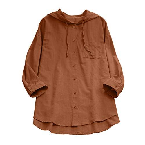Maroon Loose Fit Shirt (MRULIC Damen Langarm Shirt Beiläufige Lose Baumwolle Frühling Herbst Tops Solide Elegante T-Shirt Freizeithemd(A9-Kaffeebraun,EU-36/CN-S))
