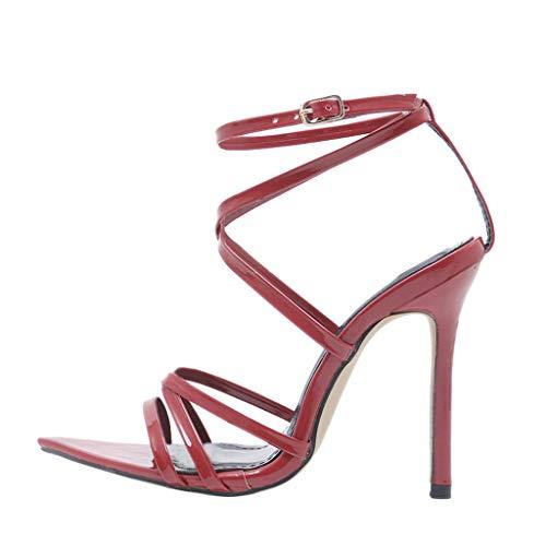 Elegant scarpe estive, zarupeng scarpe moda donna scarpe da europee e americane con i sandali scarpe peep toe donna slingback sandali tacco a spillo con cinturino scarpa da sexy(rosso,35 eu)
