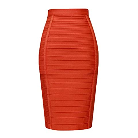 HLBandage Women High Waist Stripe Rayon Bandage Skirt(S,Orange)