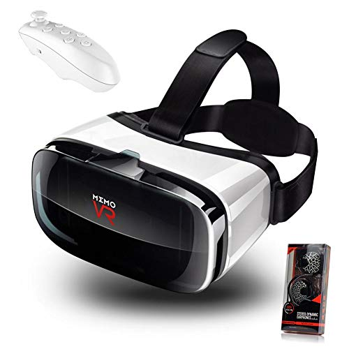 V6 VR-Brille Virtuelle 3D-Brille, VR-Headset mit Fernbedienung, Augenoptisch verstellbare HD-Qualitätslinsen, HD-Virtual-Reality-Headset mit Touch-Taste, Smartphones mit 4,5-6,3 Zoll-Bildschirm