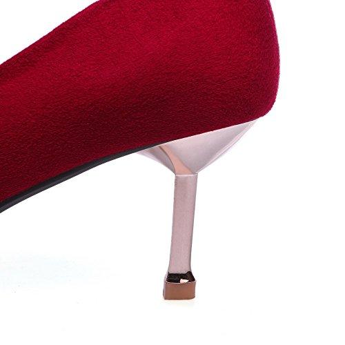 AllhqFashion Femme Dépolissement Tire Pointu à Talon Correct Couleur Unie Chaussures Légeres Rouge