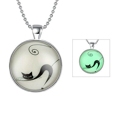 Daesar Damen Halskette mit Nachtleuchtend Halloween / Weihnachten Geschenk Silber Nette Katze Anhänger Halskette Kette 60cm (Nette Halloween Baby Namen)